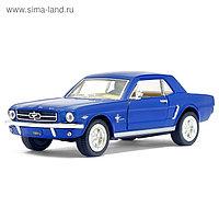 Машина металлическая Ford Mustang, 1:36, открываются двери, инерция, цвет синий