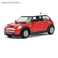 Машина металлическая Mini Cooper S, 1:28, открываются двери, инерция, цвет красный