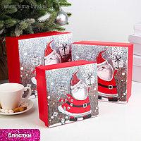 Набор коробок 3 в 1 «Санта» , 20 х 20 х 9,5 - 15,5 х 15,5 х 7,5 см