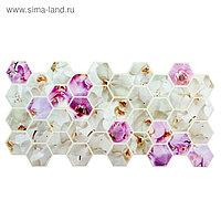 Панель ПВХ Граненый шестигранник Орхидеи 973х492 мм
