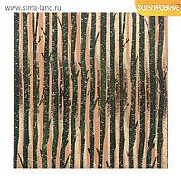 Бумага для скрапбукинга крафтовая с фольгированием «В лесу», 15,5 х 15,5 см, 250 г/кв. м