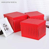 Набор коробок 3 в 1, красный, 25 х 20 х 18 - 21 х 15,5 х 15,5 см