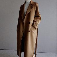Пальто женское, шерстяное. Цвет коричневый.