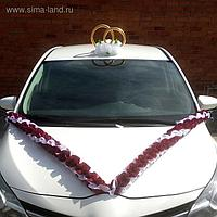 """Набор на авто """"№7"""": кольца на крышу/4 банта/""""V""""лента на капот 3 м, марсала"""