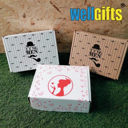 Подарочная коробка с рисунком 23х17х8 см Бурый
