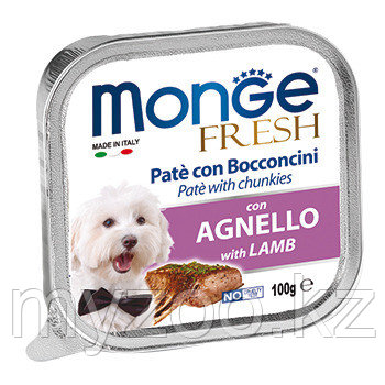 MONGE FRESH DOG, Монже Фреш для собак паштет с ягненком, ламистер 100 гр.