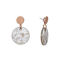 Позолоченные длинные серьги с натуральными камнями из серебра гвоздики-пусеты. Вставка: кварц, вес: 17,7 гр