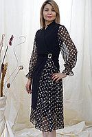 Платье черное стильное шифоновое в горошек