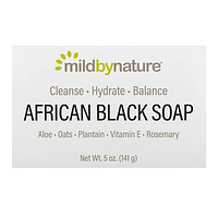 Mild By Nature, Африканское черное мыло для бритья, с алое, овсом и подорожником, 141 г