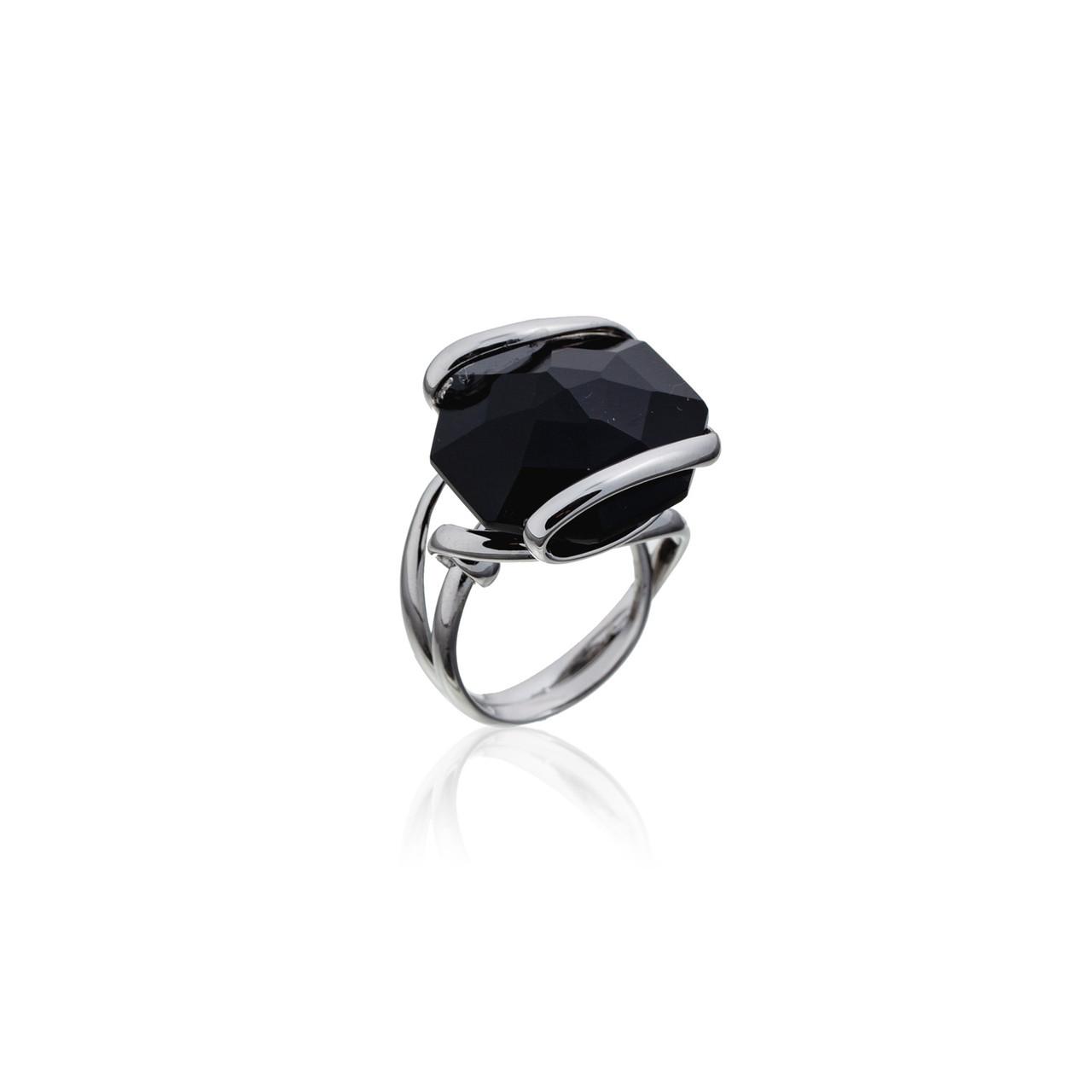 Серебряное кольцо с натуральным камнем. Вставка: черный агат вес:10,7гр, покрытие родий, размер:18рр