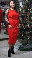 Платье вечернее красное эффектное 50