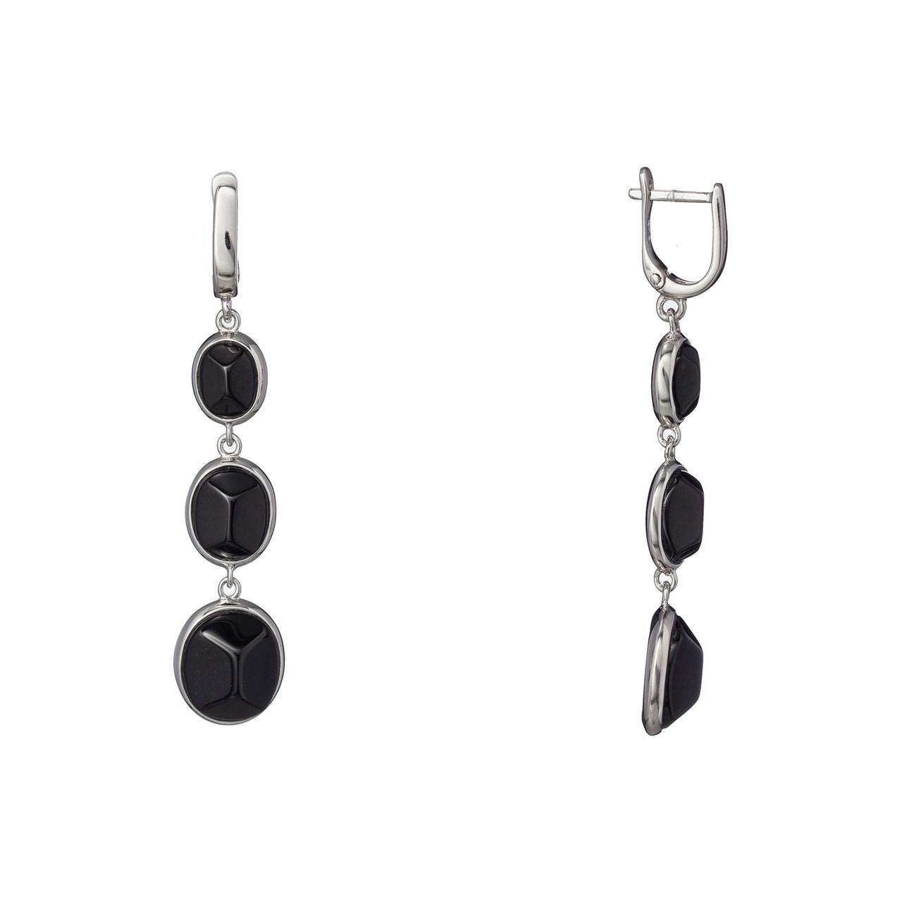Серебряные длинные серьги с натуральными камнями с английской застежкой. Вставка: черный оникс, вес: