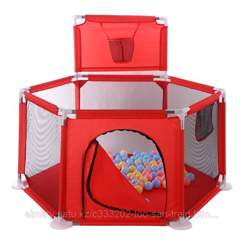 Игровой манеж +30 шариков(красный,голубой)