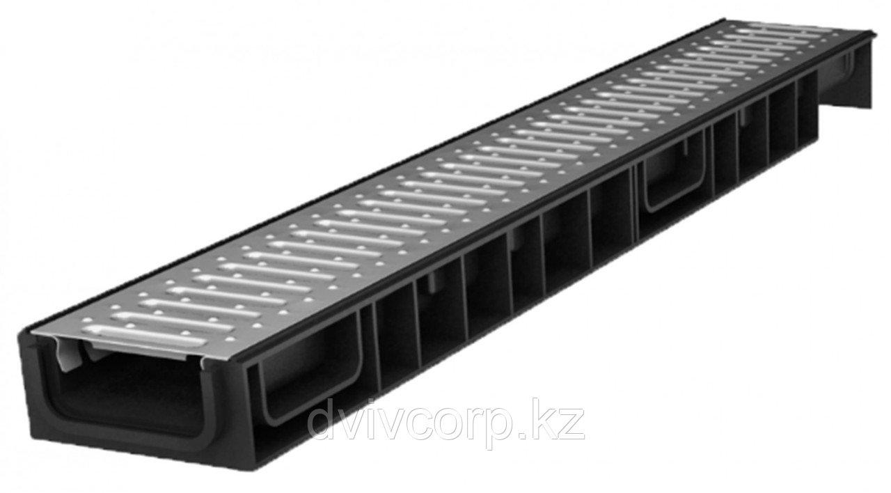 Лоток водоотводный Ecoteck STANDART light 100.65 h69 с решеткой стальной, кл.А15