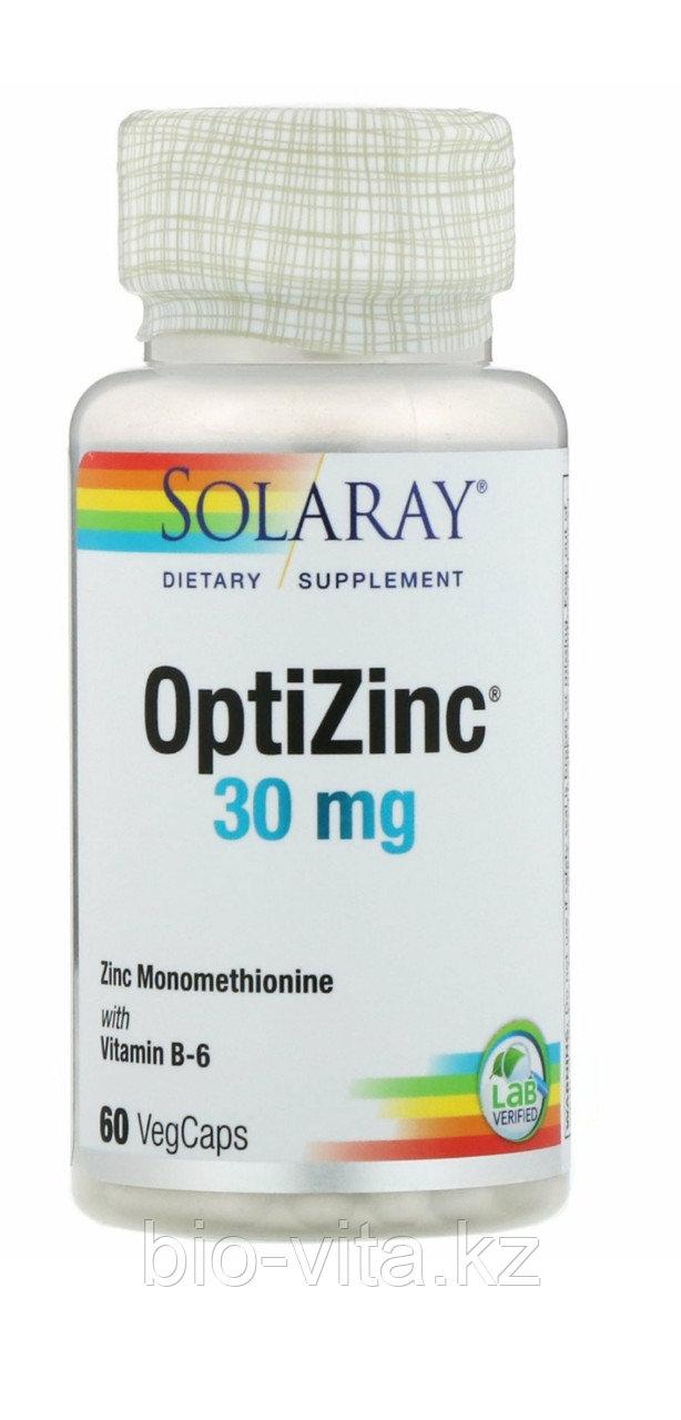 Solaray ОптиЦинк, Цинк (с аминокислотой метионин для лучшего усвоения) 30 мг, 60 капсул
