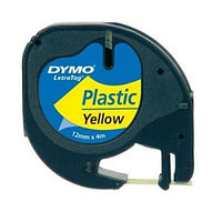 Термолента Letra Tag Dymo, 12мм х 4м, черный шрифт,желтая лента