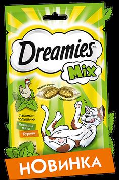 """Dreamies """"Лакомые подушечки"""" для кошек Кошачья мята и Курица"""