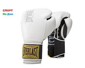 Боксерские перчатки Everlast кожа (цвет белый) 12,14OZ, фото 2