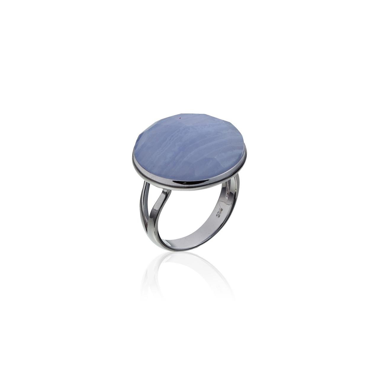 Серебряное кольцо с натуральным камнем. Вставка: голубой агат размер: 17,5р, покрытие родий, вес: 4,