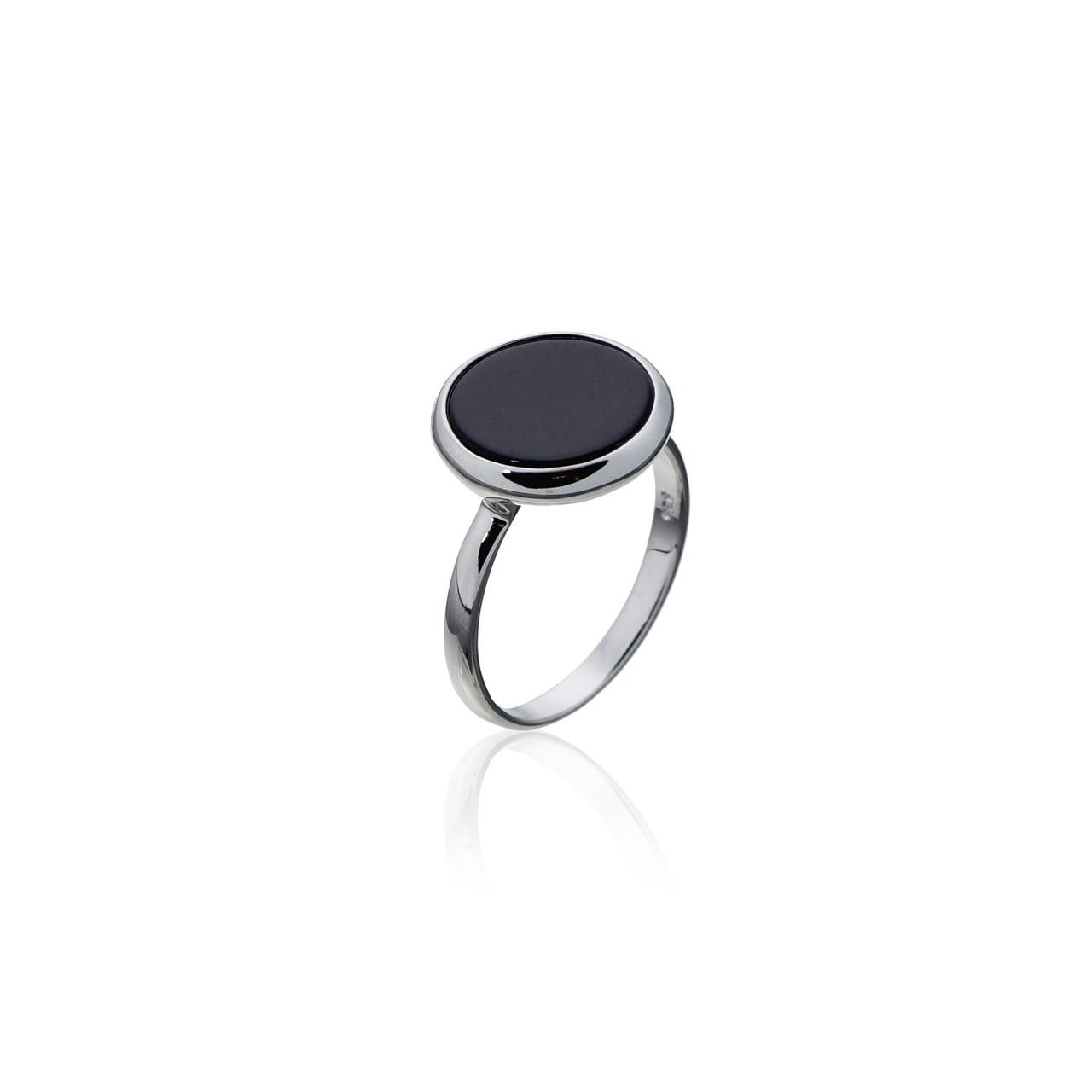 Серебряное кольцо с натуральным камнем. Вставка: черный оникс размер: 17, покрытие родий