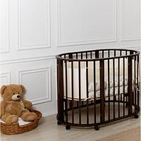 Детская кроватка НИКОЛЬ круглая-овальная Темный МОЙ МАЛЫШ