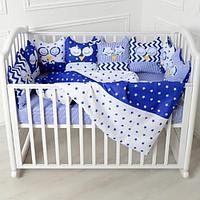 """Комплект для кроватки 6 предметов круглой/овальной, Патрино """"Совушки 10519-6», синий"""
