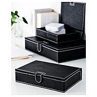 РИССЛА Коробка д/документов, 3 шт., черный, черный, фото 1