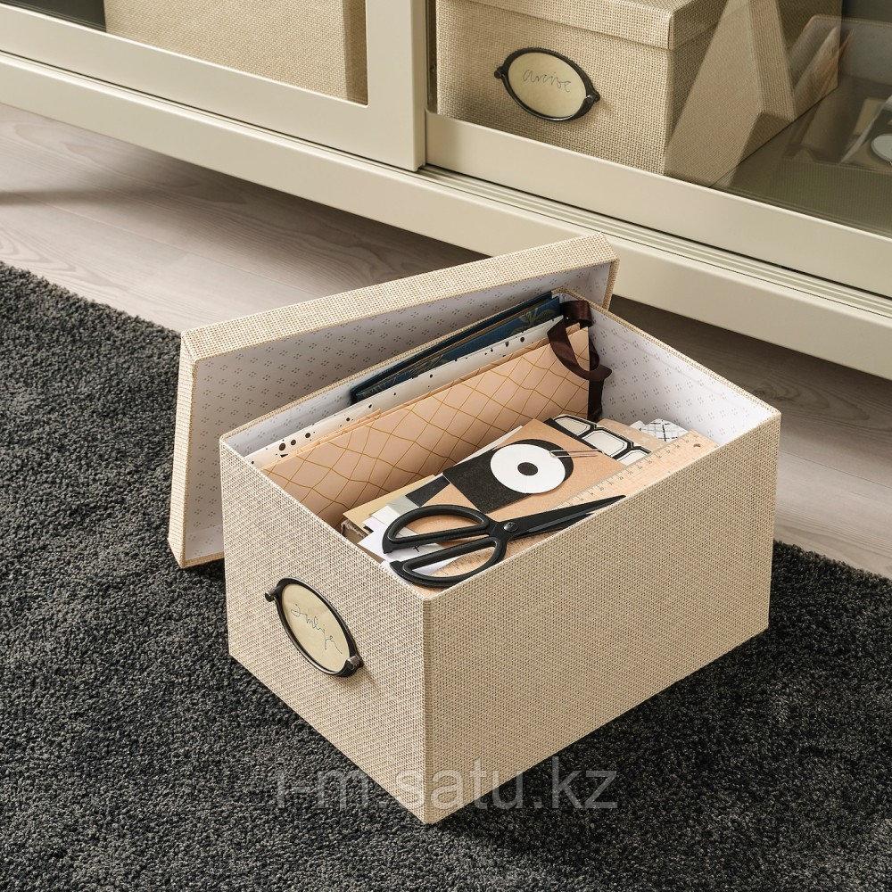 КВАРНВИК Коробка с крышкой, бежевый, бежевый