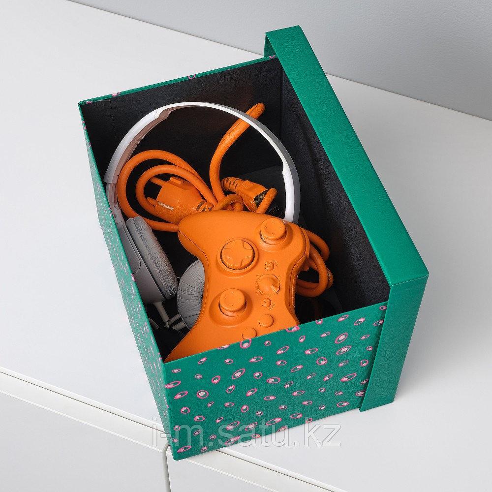 ТЬЕНА Коробка с крышкой, зеленый точечный, зеленый точечный 18x25x15 см
