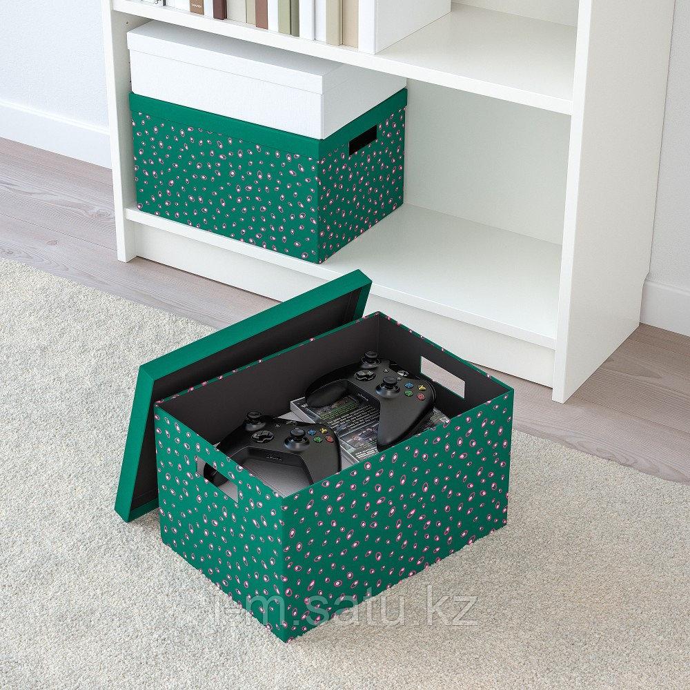 ТЬЕНА Коробка с крышкой, зеленый точечный, зеленый точечный 25x35x20 см