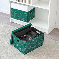 ТЬЕНА Коробка с крышкой, зеленый точечный, зеленый точечный 25x35x20 см, фото 1