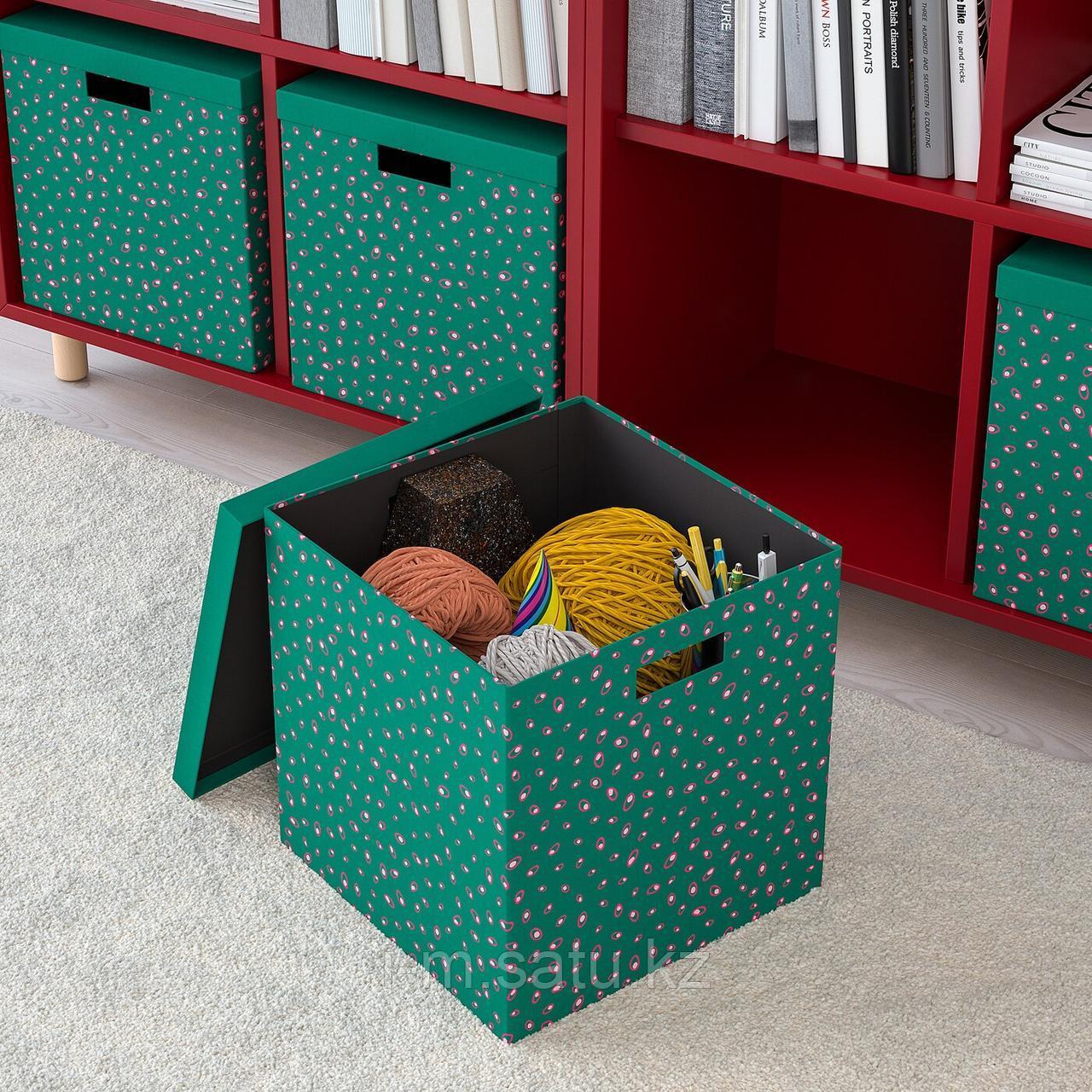 ТЬЕНА Коробка с крышкой, зеленый точечный, зеленый точечный 30x30x30 см