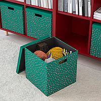 ТЬЕНА Коробка с крышкой, зеленый точечный, зеленый точечный 30x30x30 см, фото 1