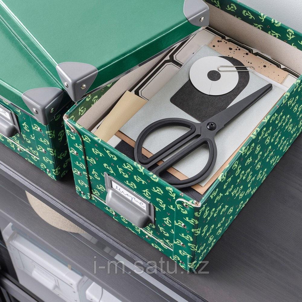 ФЬЕЛЛА Коробка с крышкой, зеленый, цветочный орнамент, зеленый