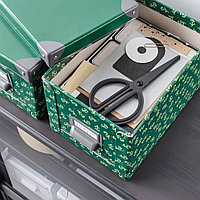 ФЬЕЛЛА Коробка с крышкой, зеленый, цветочный орнамент, зеленый, фото 1