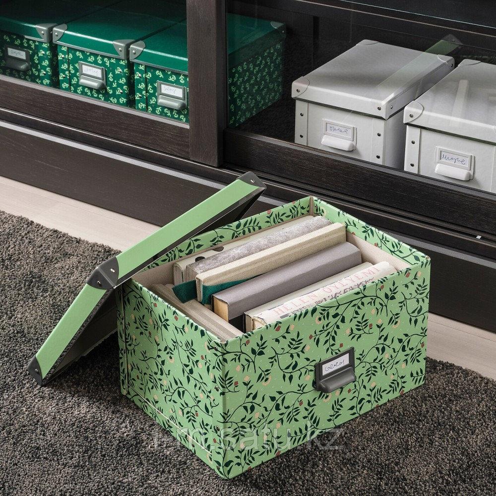 ФЬЕЛЛА Коробка с крышкой, светло-зеленый, цветочный орнамент, зеленый