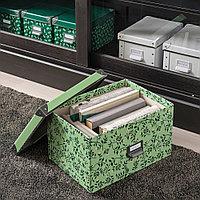 ФЬЕЛЛА Коробка с крышкой, светло-зеленый, цветочный орнамент, зеленый, фото 1