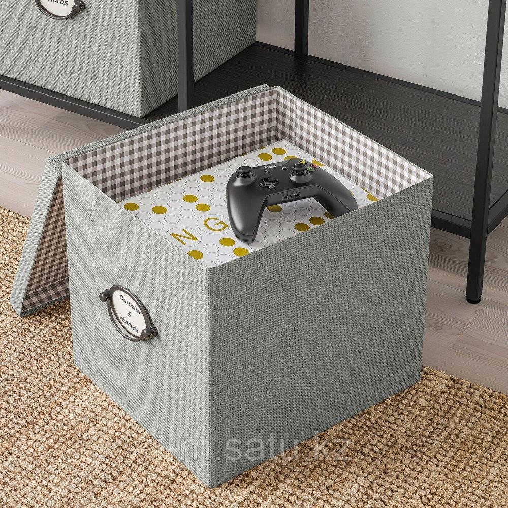 КВАРНВИК Коробка с крышкой, серый, серый
