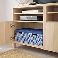ТЬЕНА Коробка с крышкой, синий, разноцветный, 25x35x20 см, фото 1