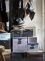 ТЬЕНА Коробка с крышкой, синий/сиреневый, с рисунком, 32x35x32 см, фото 1