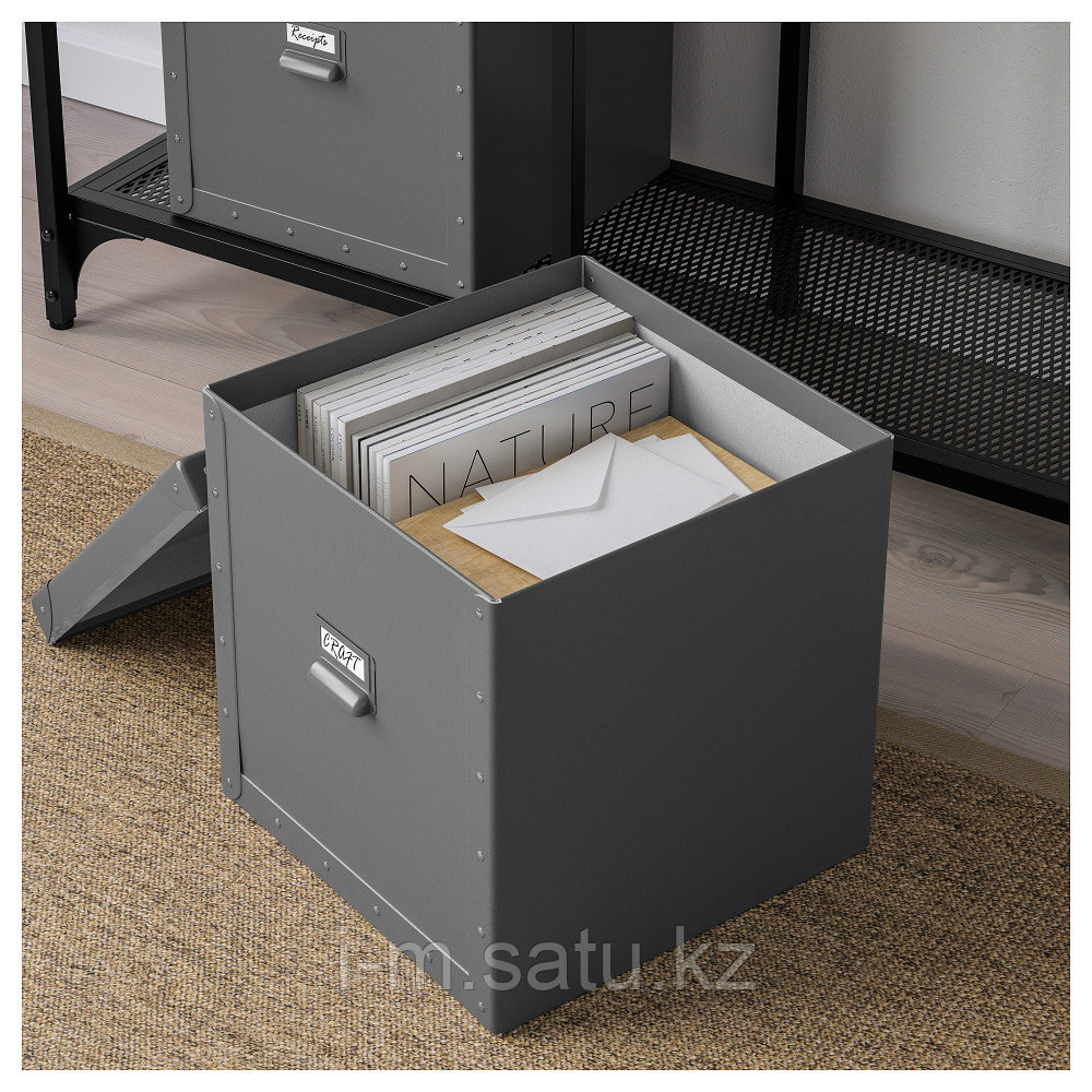 ФЬЕЛЛА Коробка с крышкой, темно-серый, темно-серый 30x31x30 см