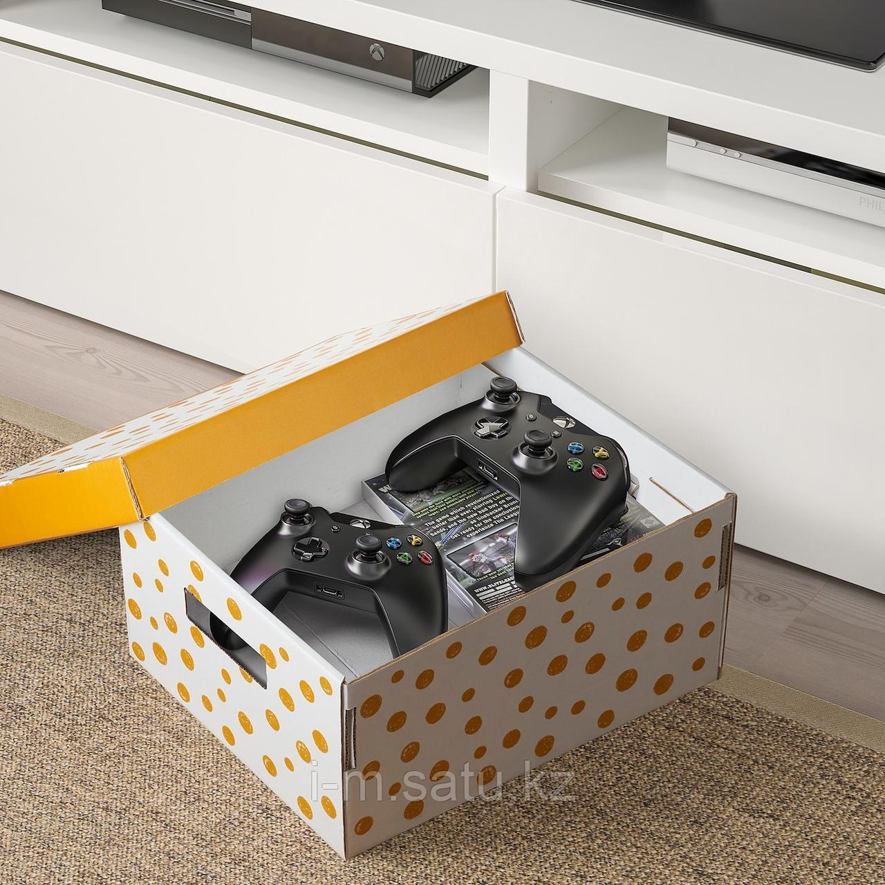 ПИНГЛА Коробка с крышкой, точечный, оранжевый, 2шт, оранжевый, белый
