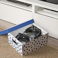 ПИНГЛА Коробка с крышкой, точечный, синий, 2шт, синий, белый