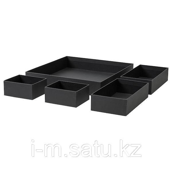 ГРОСИДАН Набор коробок, 5 шт., черный, черный