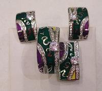 Серебряный комплект (набор). Вставка: эмаль цвет мульти, фианиты, вес: 17,5гр покрытие родий, размер