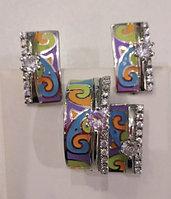 Серебряный комплект (набор). Вставка: эмаль цвет мульти, фианиты, вес: 16,9 гр, покрытие родий, разме