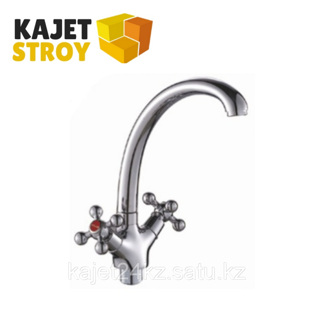 Смеситель KOLAG 1746  двуручный для кухни с высоким поворотным изливом (12)