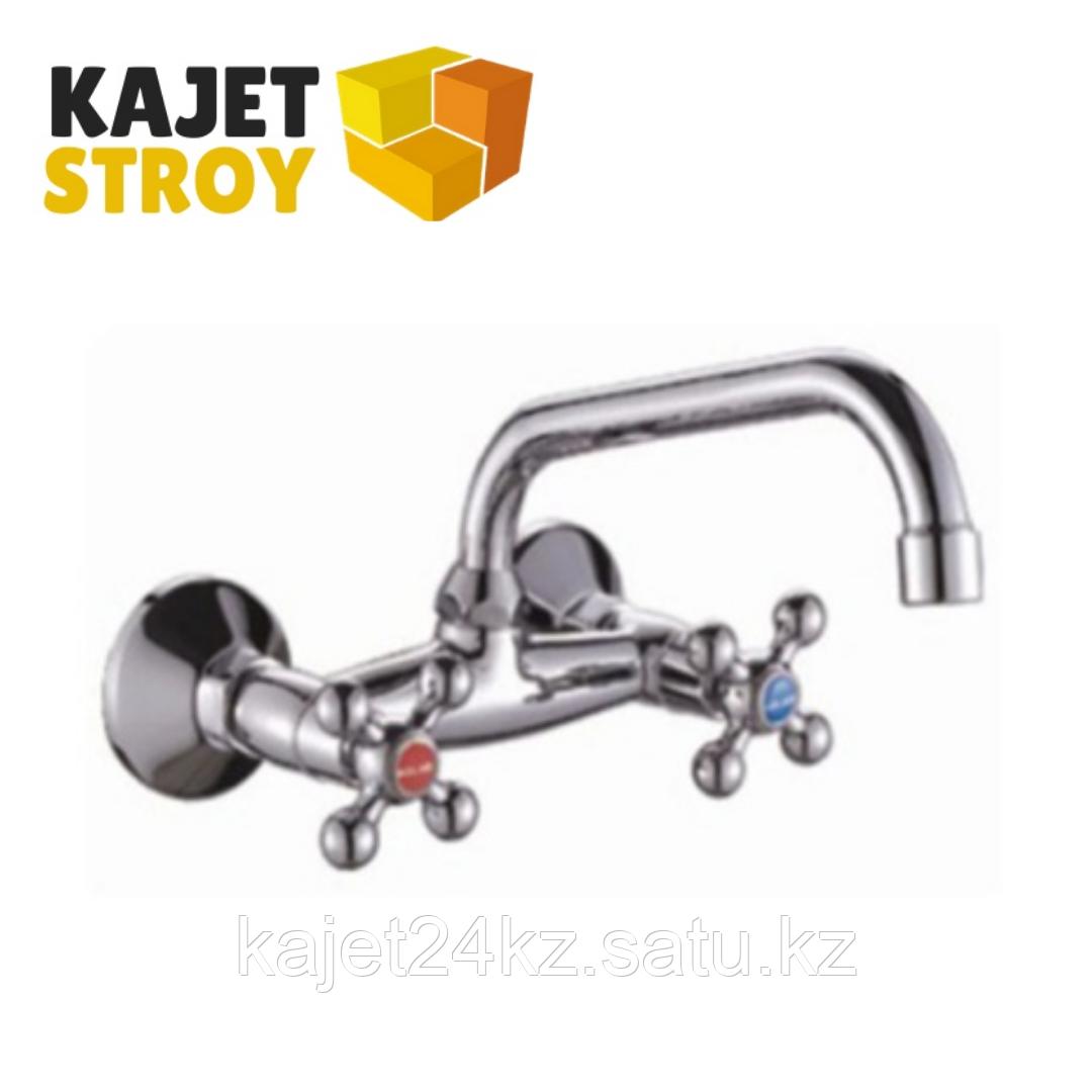 Смеситель KOLAG 1774 двуручный для кухни настенный с верхним изливом (18)