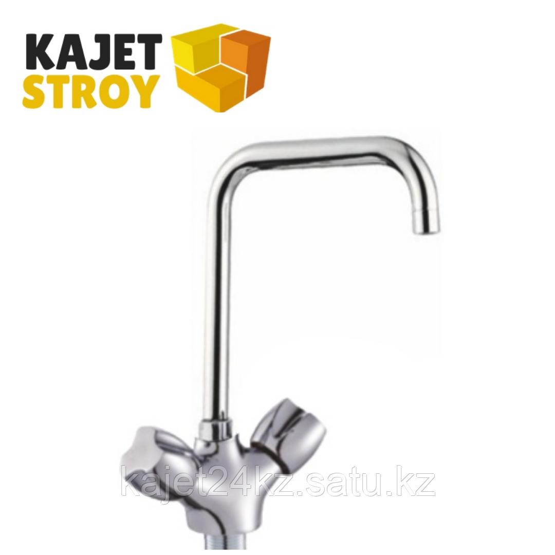 Смеситель KOLAG 1857 двуручный для кухни с высоким поворотным изливом (12)