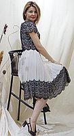 Платье нарядное шифоновое в черно-белом цвете